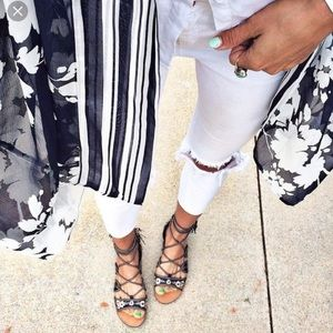 Embroidered Lace Up Gladiator Sandals